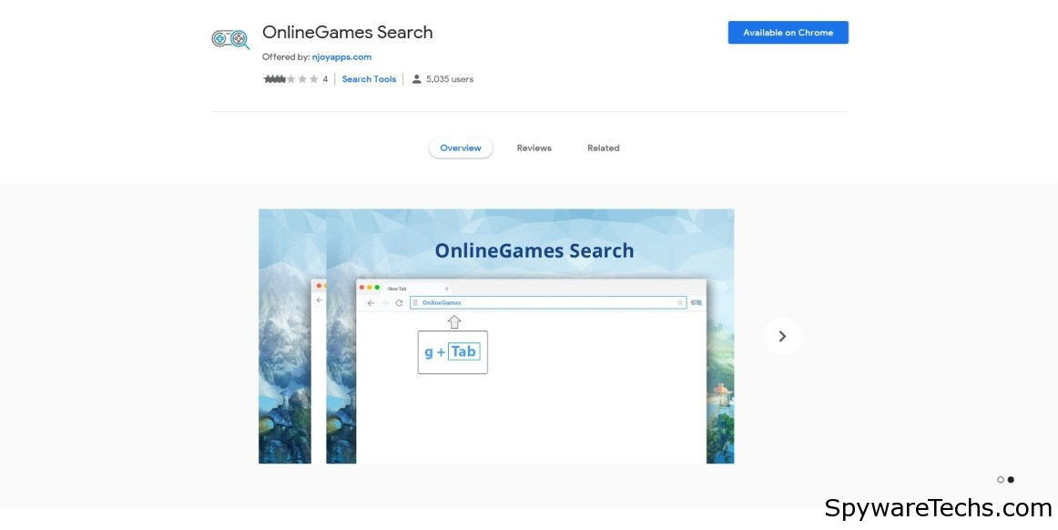 Remove OnlineGames Search Extension